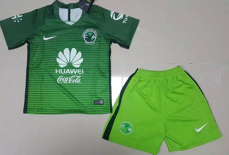 800e3c0a7b750 Mexico Club America 16 17 Away Third green Kids Soccer jersey ...