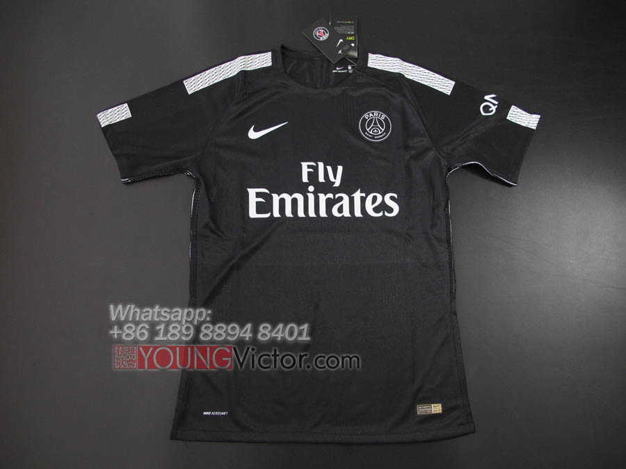4d1ecf24f Paris Saint Germain PSG 17 18 Away Third Black Player version Soccer jersey