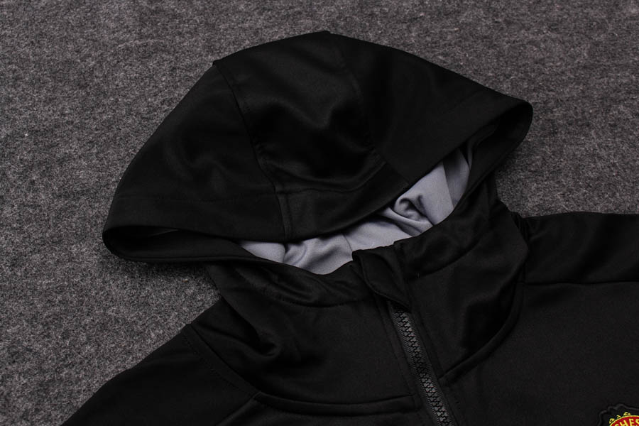 28a8793d6e3 Manchester United 17 18 Winter Training suit Jacket + Hat black ...