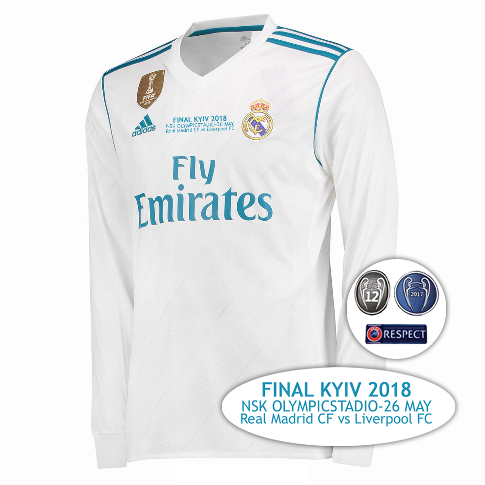 844a5a35 2017 2018 Champions league FINAL Dynamo Kyiv Real Madrid 17 18 Long sleeve  Soccer jersey