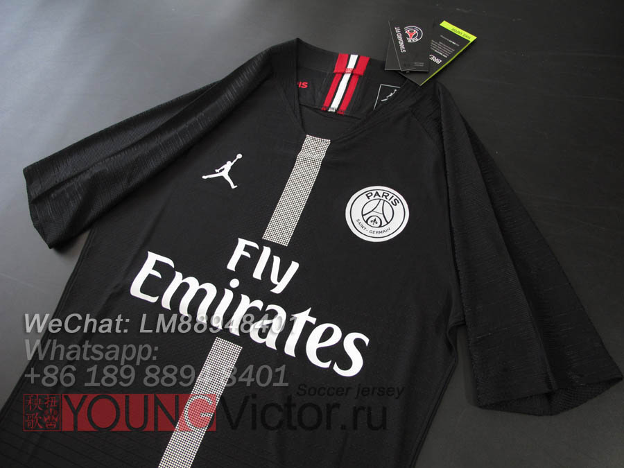 e910a672a331fc 18 19 Paris Saint Germain Jordan PSG black Player version Soccer jersey