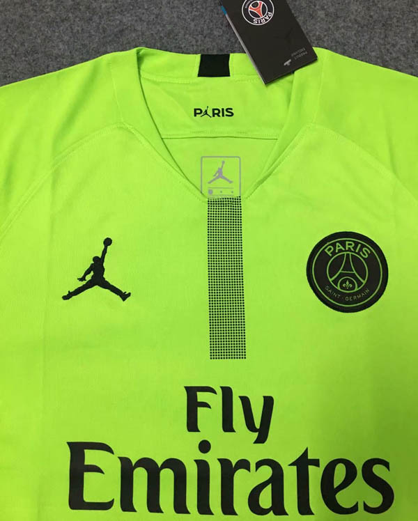 d86ea9fd762 18 19 Paris Saint Germain Jordan PSG Green Goalkeeper Soccer Jersey ...